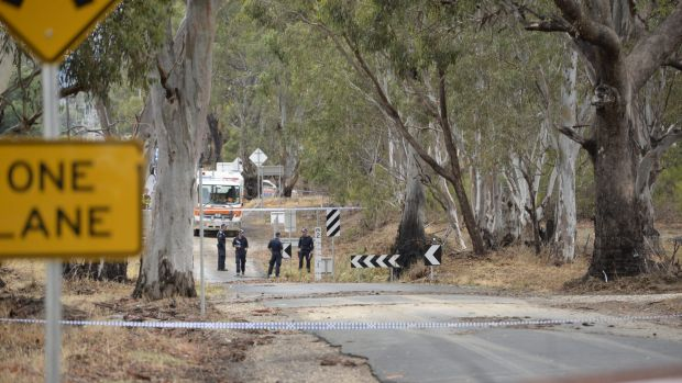 Police on the scene at Whiteheads creek in Seymour.