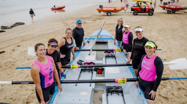The Broulee Canberra capitals compete in the George Bass surfboat and ski marathon. From left, Nikki Ayers, Vikki ...