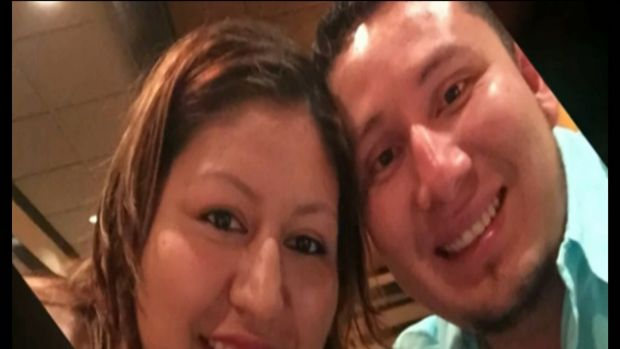 Petra Ruiz Porras, who died after her car was swept off the highway by a tornado in Dallas, and her husband Ruben ...