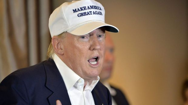 Republican presidential hopeful Donald Trump speaks during a brief stop at a campaign event at the US-Mexico border in ...