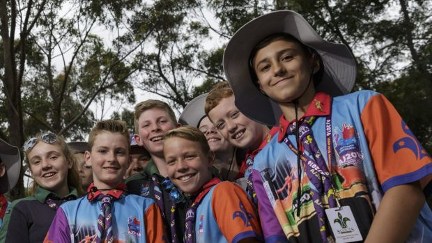 Scouts from the Berwick Central troop in Victoria arrive for the Australian Jamboree in Appin.