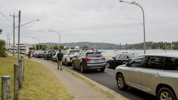 Heavy traffic: Holiday makers head home earlier this week after spending their time at the NSW south coast.