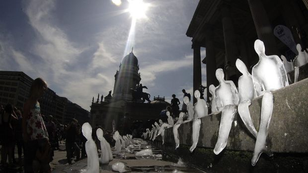 "Climate change: Nele Azevedo's ""Melting Men"" ice installation."