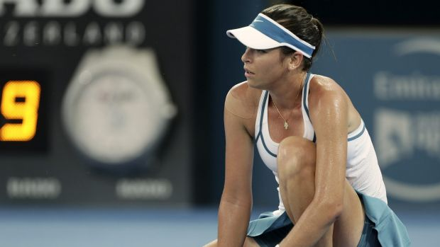 Suffering: Croatian Ajla Tomljanovic went out in the first round against Carla Suarez Navarro of Spain.