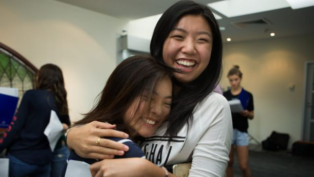 Sarah Lu  and Tina Tian from Presbyterian Ladies College recieve their results in the International baccalaureate.
