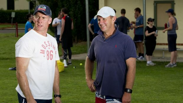 Chewing the fat: Andy Friend with former Brumbies assistant Tony Rea.