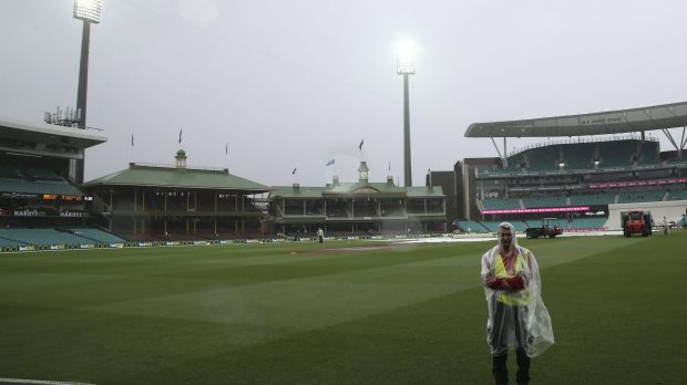 State of no play: the SCG after day two was abandoned on Monday.
