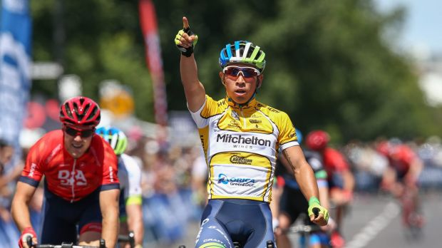 Confidence boost: Caleb Ewan celebrates his win at the Mitchelton Bay Classic at Williamstown.