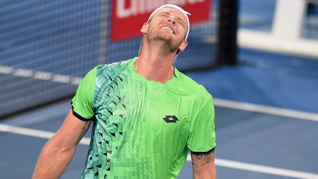 Gutted: Sam Groth reacts during his loss to Hyeon Chun.