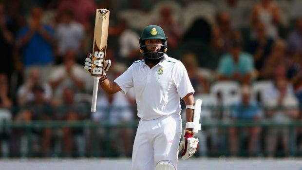 Hashim Amla celebrates his 150 on day three of the 2nd Test against England at Newlands.