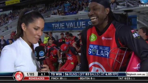 Uncomfortable interview: Chris Gayle and Mel McLaughlin.