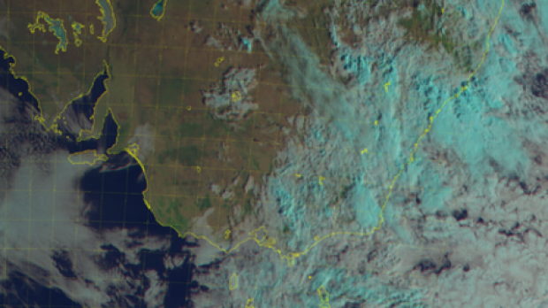 Satellite image showing the heavy cloud covering the south-east coast of Australia.