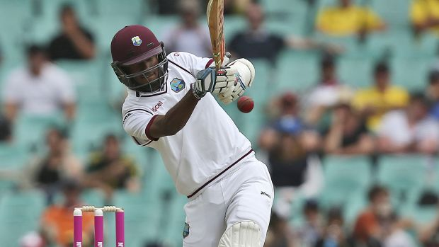 Uphill struggle: Kraigg Brathwaite plays a shot at the SCG on Sunday.