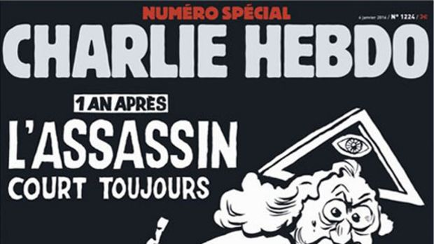 The cover of Charlie Hebdo, the French satirical publication, to mark the first anniversary of the attacks on 7 January ...