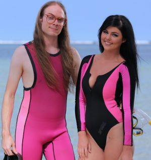 Mike Ando and Queensland model Temaura Lacaze appeared on Channel 7's Beauty and the Geek.