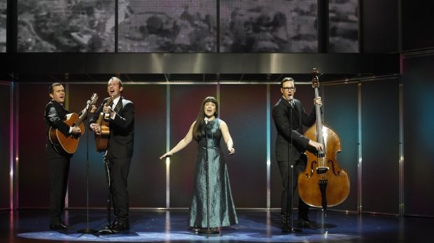 Phillip Lowe (Keith Potger), Mike McLeish (Bruce Woodley), Pippa Grandison (Judith Durham) and Glaston Toft (Athol Guy) ...