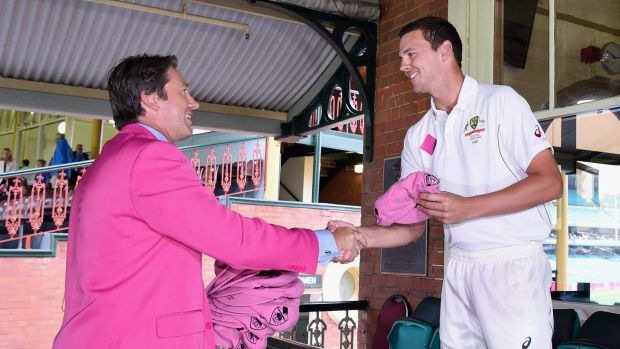 His own man: Glenn McGrath and Josh Hazlewood in part of the Jane McGrath Day activities at the SCG on Tuesday.