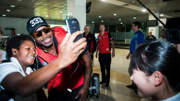 Chris Gayle of the Melbourne Renegades at Tullamarine Airport on Tuesday.