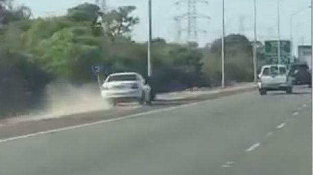 A Perth driver narrowly escapes a serious crash after veering off the Kwinana Freeway.