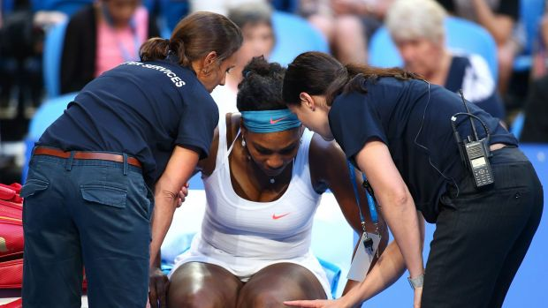 Injury concern: Serena Williams was forced to pull put of the Hopman Cup with a knee injury.