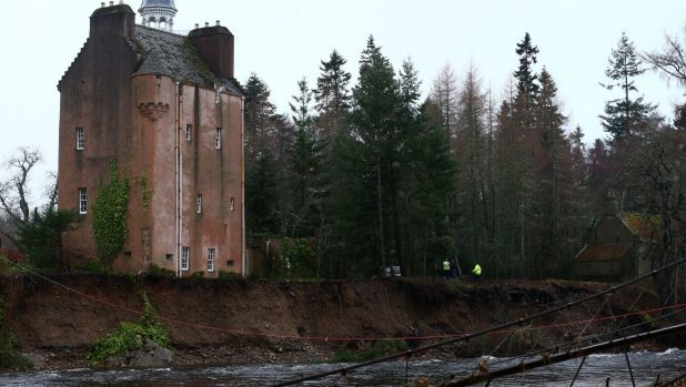 Heavy rain and flooding has swept through the north of England and Scotland, leaving Abergeldie Castle at risk.