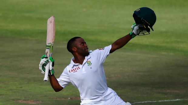 History maker:  Temba Bavuma celebrates his century against England.