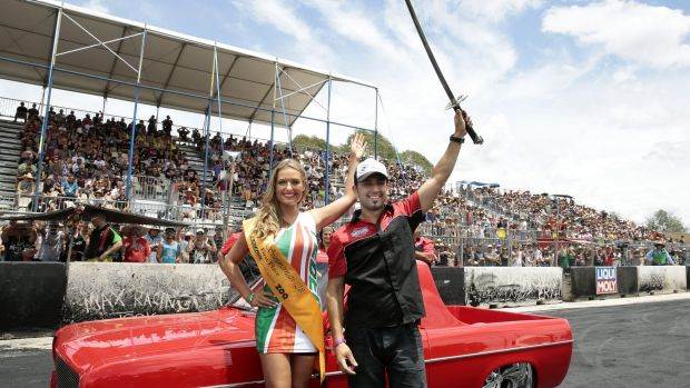 Miss Summernats Monique Dignan-Smith with Grand Champion Nathan Borg on day 4 of Summernats 2015.
