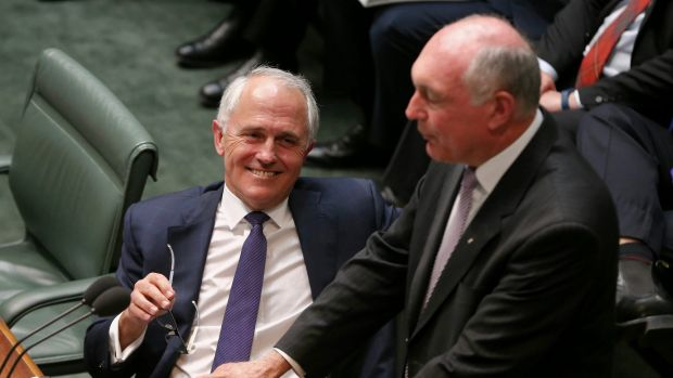Prime Minister Malcolm Turnbull and Deputy Prime Minister Warren Truss pictured in Parliament last year.