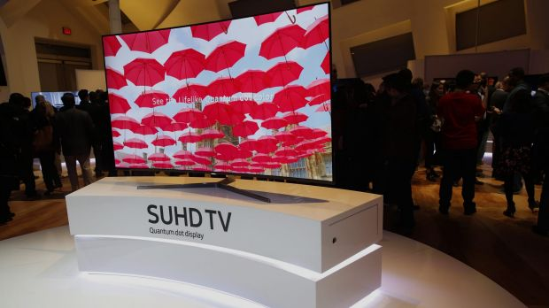 A Samsung Ultra Slim Quantum dot display television is displayed at the 2016 Consumer Electronics Show in Las Vegas.