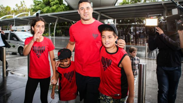 Touchdown: Jarryd Hayne arrived back in Sydney on Wednesday.