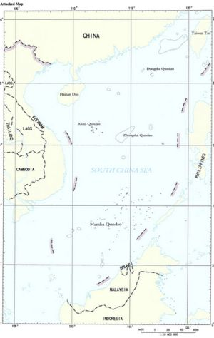China's South China Sea map showing the nine-dash line that outlines the area it claims belongs to it.