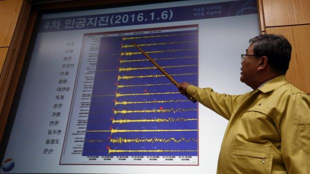 Korea Meteorological Administration official Ko Yun-hwa shows  seismic waves that were measured in South Korean cities.