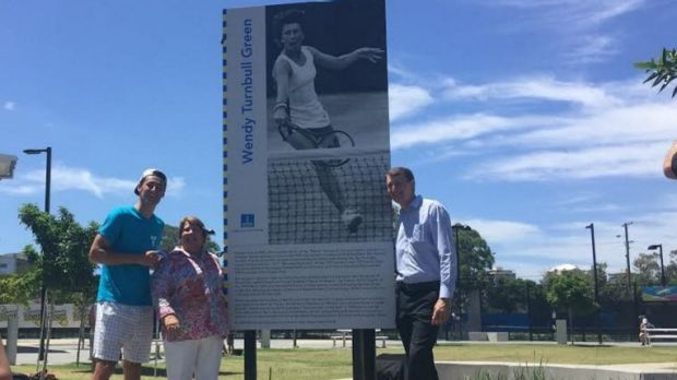 Wendy Turnbull, Bernard Tomic and Brisbane Lord Mayor Graham Quirk at Wendy Turnbull Green in Milton.