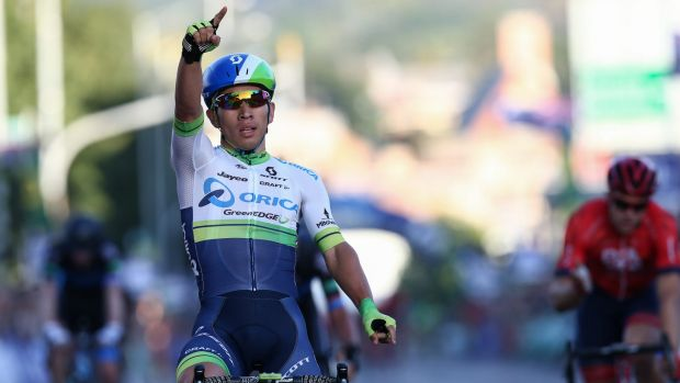 Hot favourite salutes: Caleb Ewan wins the men's elite criterium race at the Australian road cycling championships.