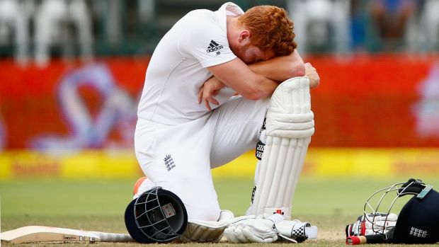 Jonny Bairstow of England takes a break as he waits a stumping decision during day five.