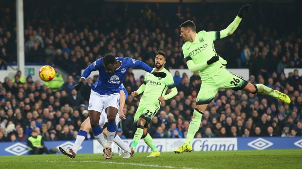 Everton's Romelu Lukaku scores his team's second goal against Manchester City at Goodison Park.