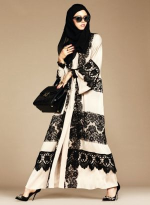 Dolce & Gabbana's new abaya collection includes hijabs and abayas in neutral colours featuring luscious lace trims