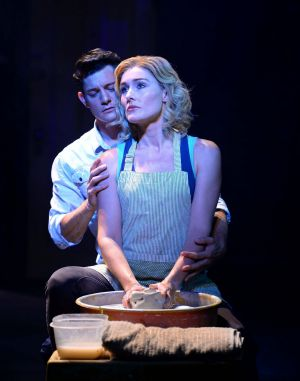 """Rob Mills and Jemma Rix in """"that scene"""" from the Australian production of Ghost the Musical."""