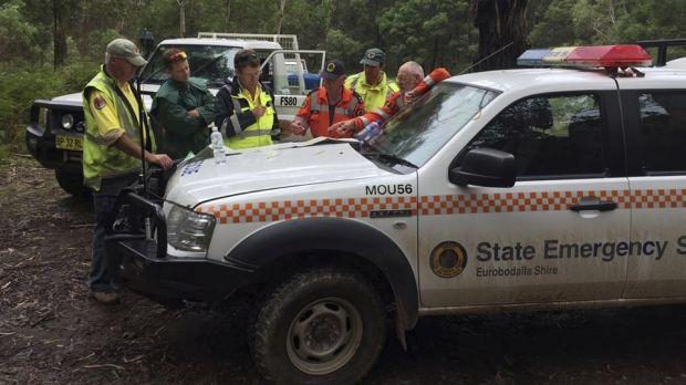 Rescue teams at the Deua National Park where up to 41 campers are trapped after the Deua River flooded.