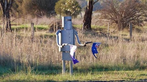 The Ned Kelly letterbox in its rightful place on the side of the Northern Highway.