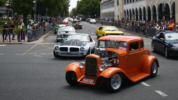The Summernats City Cruise down Northbourne Avenue kicks off the annual car festival in Canberra.