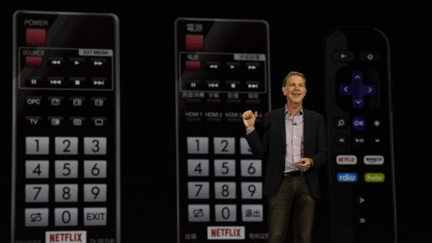 Reed Hastings, chairman, president and CEO of Netflix, delivers a keynote address during an event at the 2016 Consumer ...