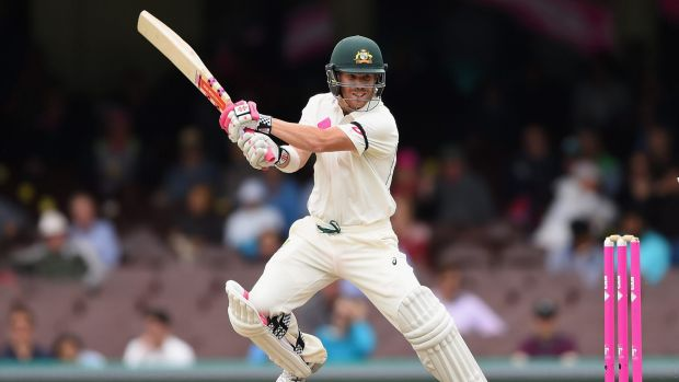 Cutting away: David Warner bats during day five of the third Test.