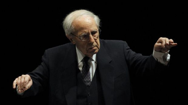 French conductor and composer Pierre Boulez conducting the Paris Orchestra at the Louvre museum in 2011.