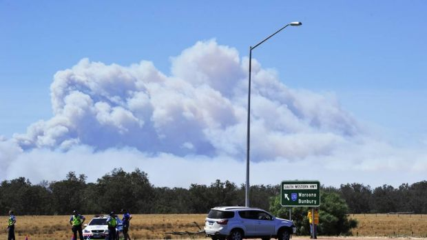 Large portions of roads have been shut down by the Waroona fires.