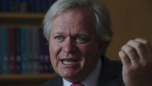 Newly-appointed vice-chancellor of the Australian National University, Prof. Brian Schmidt, in his chancellory office.