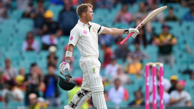 Ton up: David Warner celebrates after reaching his century during day five.