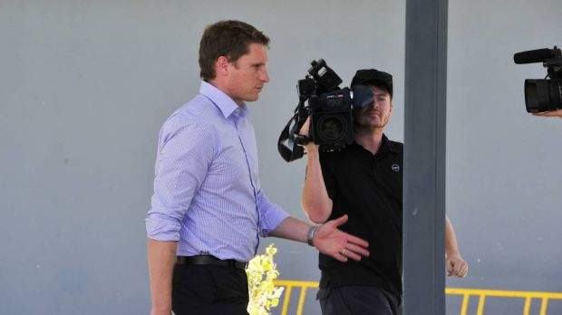 Federal MP Andrew Hastie visits the evacuation centre.