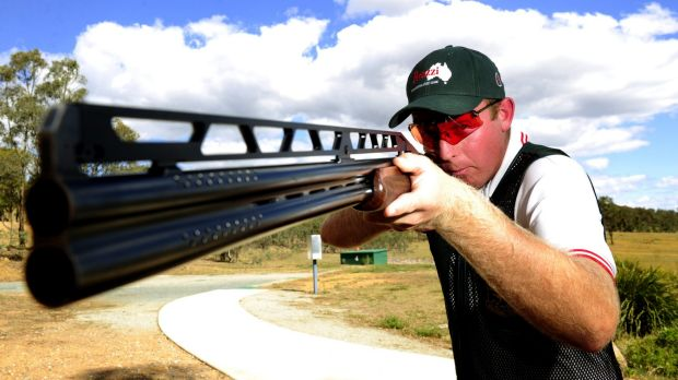 Double trap competitor James Willett, of Mulwala, training at the Majura Park Gun Club in Canberra.