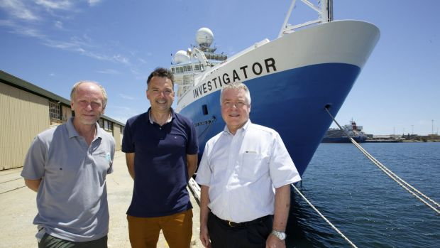 Sub-Antarctic voyagers: from left, Richard Arculus, Andrew Bowie and Mike Coffin.